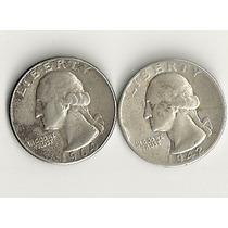 Ltn56: 2 Moedas De Prata Eua Quarter Dollar 1964 E 1942