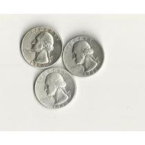 Ltn55: 3 Moedas De Prata Eua Quarter Dollar 1964,1944 E 1942