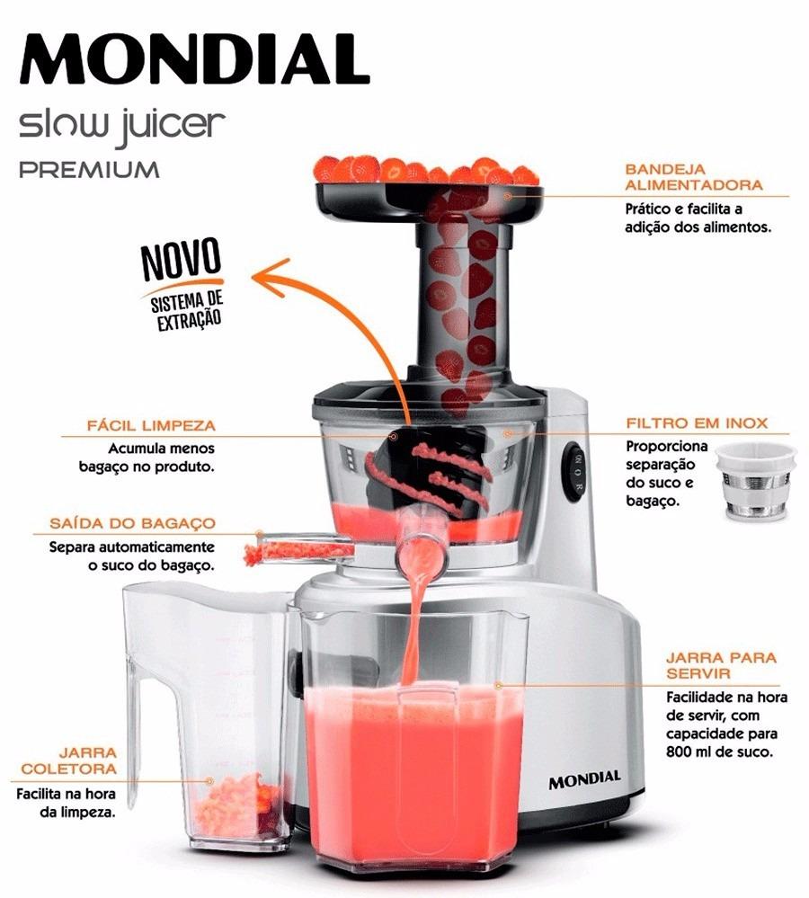 Centrifuga Slow Juicer/sj-01 Mondial 127v/250w C/duas Jarras - R$ 228,00 no MercadoLivre