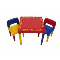 Mesa Infantil Educacional Com 2 Cadeiras Colorida Desmontave