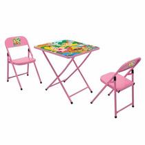Mesa Infantil De Aco Sapeca Quadr. C/2 Cadeira Rosa