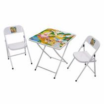 Mesa Infantil De Aco Sapeca Quadr. C/2 Cadeira Branca