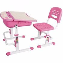 Mesa Infantil De Estudos Com Cadeira Ergovida C301 Rosa Elg