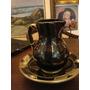 Gomil/jarra E Bacia Em Ceramica Preta Com Aplique Em Prata
