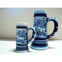 2 Caneco Antigo De Chopp Ceramica Ceramarte Avon Em Alto Rel