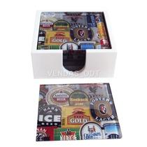 Conjunto Bolacha Porta-copos Em Vidro Rótulos De Cerveja