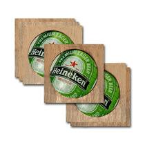 Conjunto 6 Porta-copos Rótulo Heineken Em Madeira