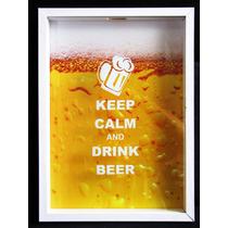 Quadro Porta Tampinhas Tampas Cerveja Keep Calm Collection