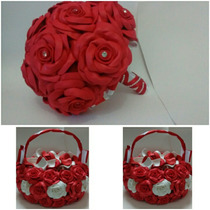 Bouque De Noiva Em Eva, 2 Cestinhas Para Florista Em Eva