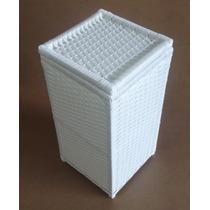 Cesto De Roupa Roupeiro Fibra Sintética Branco 30x30x60