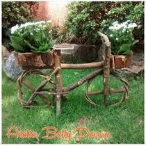 Decoração Bicicleta Com Cachepô Madeira Jardim Flores