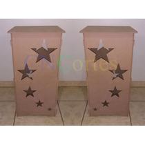 2 Cubos Mesa Estrelas Par Mdf Provençal Desmontável + Tampos