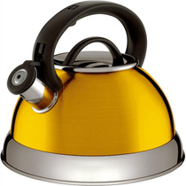 Chaleira 2.8l Em Aço Inox Amarela Euro Home Com Frete Grátis