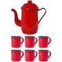 Bule Esmaltado Cafe 1,25 Litros + 6 Xicaras 70 Ml Promoção !