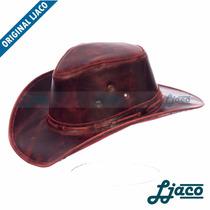 Chapéu Ljaco Comfort Country Em Couro Aba Reta Vermelho R05