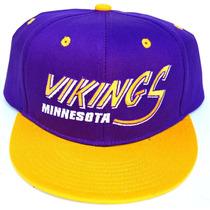 Vintage Minnesota Vikings Flatbill Snapback Boné Chapéu