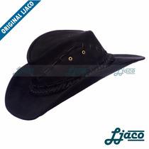 Chapeu Preto Australiano Couro Legitimo Country Cowboy Tf04p