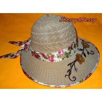 Chapéu De Palha Feminino Moda Praia Com Viseira, Bord E Laço