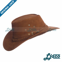 Chapeu Australiano Couro Legitimo Country Cowboy Tf811