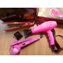 Kit Secador 4000w+chapinha+modelador De Cachos Bak 127v Rosa