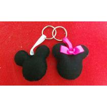 Chaveiro Mickey E Minnie Em Feltro - O Par