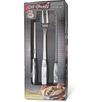 Kit Churrasco Silver 3 Peças (faca 8 , Garfo E Afiador)