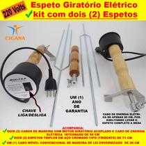 Espeto Giratório Elétrico Kit Com Dois (2) Espetos 220 Volts
