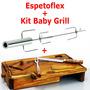 Espetoflex Espeto Giratorio + Tábua Baby Grill Garfo E Faca