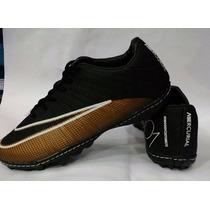 Chuteira Nike Society Cristiano Ronaldo Cr7 Preto E Dourado