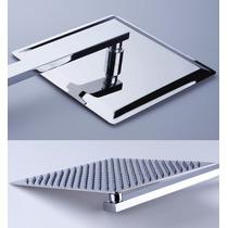 Chuveiro Ducha Slim Quadrado Em Inox 20x20cm Com Braço 38 Cm