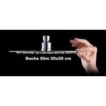 Ducha Slim Quadrada Banheiro Em Inox Cromado 20x20 Com Braço