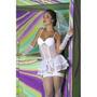 Fantasia Noiva Sexy Vestido Véu Luvas Fio E Ligas