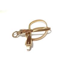 Cinto Feminino Elástico De Metal Dourado Fivela Dupla Moda