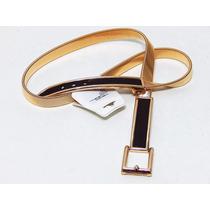 Cinto Feminino Elástico De Metal Dourado Com Couro Marrom