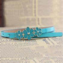 Lindo Cinto Fininho Em Couro Pu Azul Fivela Flores