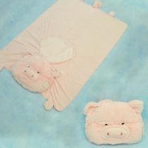 Edredom Bichinho Porquinho Plush Enxoval Bebê Manta Cobertor