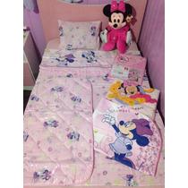 Kit Bebê Completo Menina Minnie Baby Disney Rosa Berço Manta