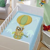 Cobertor Infantil Baby Azul Jolitex Balão. Frete Grátis