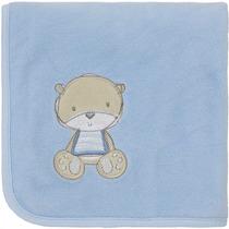 Manta Fleece Bebê Com Bordado Ursinho Azul - Lepper