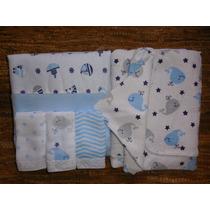 Kit Enxoval Menino 05 Pcs Cobertor Toalha Banho Toalha Boca