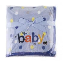 Manta Bebê Estampada Com Bordado-azul . Frete Grátis