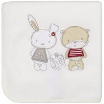 Manta Fleece Bebê Com Bordado Branca Friends - Lepper