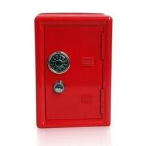 Mini Cofre Vermelho Segredo Chave Dinheiro Joias Mecânico
