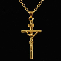 Colar Feminino Masculino Cruz Crucifixo Inri Banhado A Ouro