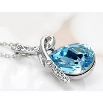 Colar Pingente De Gota Com Cristal Swarovski Azul C Platina