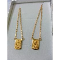 Escapulário Anjo Da Guarda Com Jesus Em Ouro 18k 2.4gr