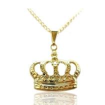 Colar Corrente Com Pingente De Coroa Folheada A Ouro 18k