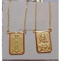 Leão Jóias Escapulario Nossa Senhora Aparecida Ouro18k 3,1gr