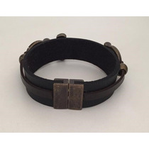 Bracelete Pulseira Masculina Vintage Rock Couro E Ouro Velho