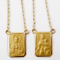 Escapulário Jesus Cristo/nossa Senhora Do Carmo Em Ouro 18k